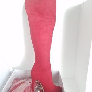 JustFab Red Thigh-high Heeled Boots